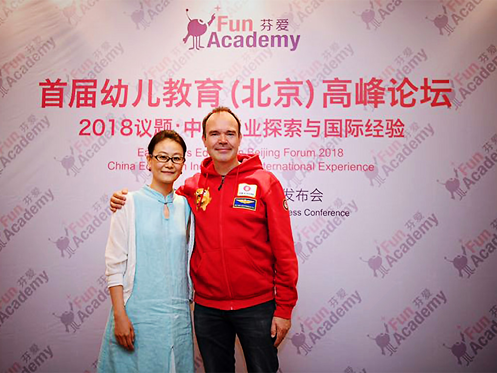 Peter Vesterbacka and Jiang announce Beijing kindergarten