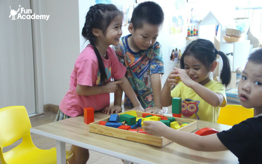 Children playing and learning in kindergartens